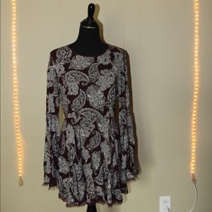 Urban Outfitters Maroon Long Sleeve Dress